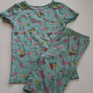 Carters Flamingo pajama short shirt set - size 7